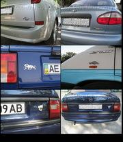 Автомобильные шильды (объемные наклейки) из ударопрочного пластика