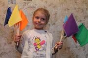Флажки детские, сигнальные, цветные,  для игр и спорта с деревяной ручкой