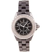 Женские изящные часы Chanel J12 Black Silver