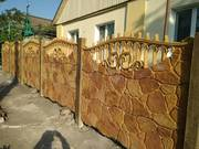 Цветные бетонные заборы, установка по Запорожью.